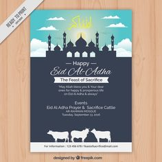 Flyer of happy eid al-adha with mosque Free Vector Eid Events, Happy Eid Al Adha, Eid Greetings, Photo Texture, Abstract Photos, Photo Backgrounds, Mosque, Ramadan, Photo Art