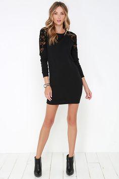 Black Swan Kira Black Lace Sweater Dress at Lulus.com!
