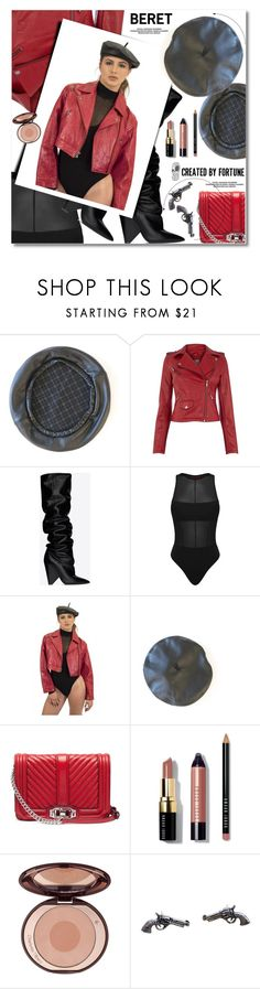 """""""Black Luxe Leather Beret"""" by svijetlana ❤ liked on Polyvore featuring Oasis, Yves Saint Laurent, Rebecca Minkoff, Bobbi Brown Cosmetics, beret and CreatedByFortune"""