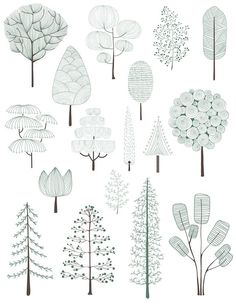 Architectural Drawing Patterns Illustration of pine trees collection Free Vector Poster Architecture, Architecture Design Concept, Architecture Graphics, Architecture Drawings, Modern Architecture, Illustration Blume, Garden Illustration, Creative Illustration, Planer Layout