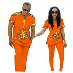 African Clothing Couples Top-Pants Sets For Lovers Bazin Sweet Flower Pattern Couples African Outfits, African Wear Dresses, Latest African Fashion Dresses, Couple Outfits, African Print Fashion, Africa Fashion, African Attire, Ankara Fashion, Traditional African Clothing