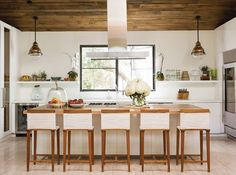 Inside Jenni Kayne's beautiful home. Isn't this kitchen so light and fantastic?!