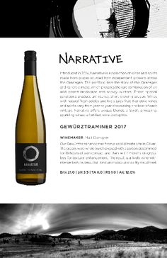 Narrative | 2017 Gewurztraminer Tasting Notes from the Okanagan White Wine, Alcoholic Drinks, Notes, Let It Be, Report Cards, White Wines, Liquor Drinks, Notebook, Alcoholic Beverages