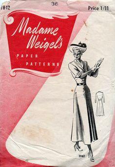 1940s Shirtwaist Dress Vintage Sewing Pattern  by BessieAndMaive,