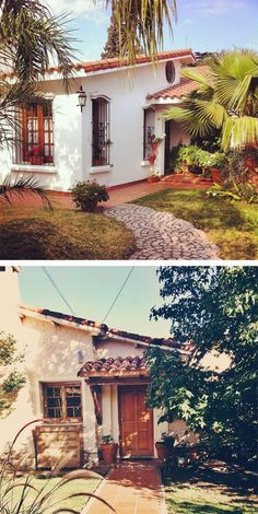 Spanish house  Roof style- flat Window style- single-hung  Features- arches, stucco siding