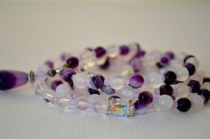 Agate and clear Quartz 108 mala beads. Gemstone by BlissfulLily, €50.00