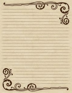 Lilac  Lavender: Swirling Border  Lined Paper