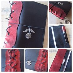 Steampunk corset inspired A5 size pocketed Midori style traveler's notebook in black leather with metallic red crackle leather spine detail. Etsy: bypaperflower #bypaperflower #midori #fauxdori #Glendori #planner #journal #steampunk
