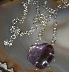 Carved Amethyst Heart Necklace Sterling Silver Modern Stone Necklace February Birthstone by OldJewelryBox on Etsy