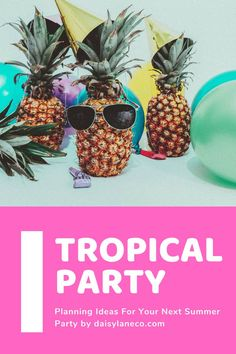Tropical party planning tips for your next summer party.  Cupcake recipes, tropical party favor ideas, DIY tropical gift bags, DIY decorations and more can be found in this guide.  Great party ideas for adults and kids!  From pool parties, beach bachelorette parties to pineapple parties these tips cover them all.  DIY your next party with these simple luau party ideas.  Party like a pineapple and impress your guests with fun tips and party recipes.  Cute pineapple party favor ideas included! Bachelorette Party Planning, Beach Bachelorette, Beach Party Favors, Luau Party, Summer Pool Party, Pool Parties, Party Recipes, Cupcake Recipes, Adult Party Themes