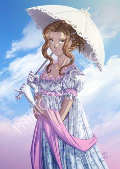 Arwen's commission par Patricia Lyfoung. Une jeune fille ressemblant à Maud, héroïne de La Rose Écarlate, en version Orgueil et Préjugés.