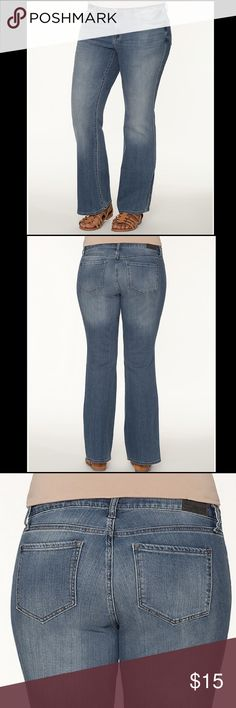 """🤑 DKNY JEANS ~ SOHO BOOTCUT TIDAL WASH ~ 14W 16W 🤑 CHEAP THRILL 🤑.           COTTON / ELASTANE / SPANDEX INSEAM: 32"""" SIZE 14W but they are roomy, so may fit size 16W. Waist measures 38"""", Hips 42"""". Pre-owned, soft, nicely broken in! Very comfy and very good condition! BY DKNY JEANS DKNY JEANS brings designer denim to your everyday wardrobe with this SOHO bootcut jean. Light Tidal Wash denim and classic five pocket styling makes this your go-to jean for any occasion. Regular fit features a…"""