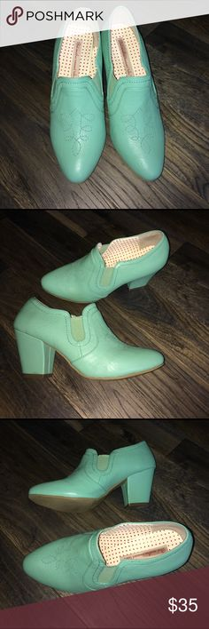 B.A.I.T...But another innocent tale...Booties Unique B.A.I.T...But another innocent tale... booties. Gorgeous sea foam green color. Pointed toe with stitching detail. Elastic at ankle for nice fit. Heel is 3 inches high. Worn twice. A bit too big or I'd keep them. They received LOTS of compliments--even from strangers. B.A.I.T. Shoes Ankle Boots & Booties