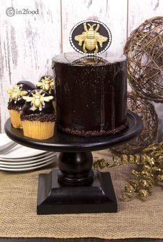 cake with dark chocolate mirror glaze