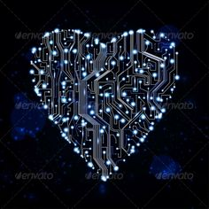 circuit board vector background by Nobi_Prizue Circuit board vector background, technology illustration, form of heart eps10