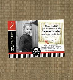 Pirate Birthday Invitation por EThreeDesignStudio en Etsy