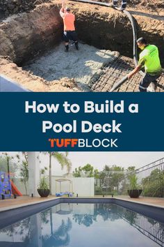 This Pool deck was made possible by using Tuffblocks. TuffBlocks have an ultra low profile of only 2 inchs from the ground to the base where the joist or post sits. If you want to know more about our product please click the video. Deck Foundation, Easy Deck, Raised Deck, Make Build, Decking Ideas, Building A Pool, Pool Landscaping, Walkway, This Is Us