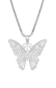 Sterling Silver Filigree Butterfly Necklace Pendant with 18 Box Chain -- Check out this great product.