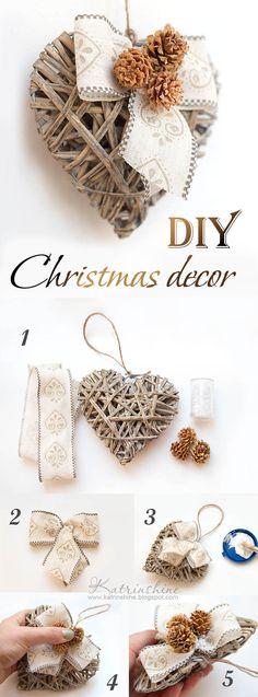 Christmas shabby chic heart DIY. Love this!! So cute!
