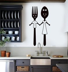 Vinyl Wall Decal Funny Spoon and Fork Kitchen Restaurant Dining Room Stickers Unique « Home Decoration Simple Wall Paintings, Creative Wall Painting, Wall Painting Decor, Kitchen Wall Decals, Wall Stickers Home Decor, Diy Wall Decor, Room Stickers, Kitchen Stickers, Kitchen Art