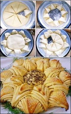 Star - bread, pizza, cinnamon bread pour la technique Plus Bread And Pastries, Star Bread, Bread Shaping, Bread Art, Good Food, Yummy Food, Awesome Food, Cinnamon Bread, Cinnamon Rolls