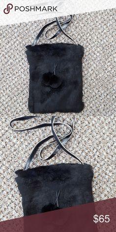 "Black Rabbit Fur purse with tassels Black rabbit fur purse with tassels 7""w x 9""h Leather strap Velcro closure A.J. Ugent Furs Bags Shoulder Bags"