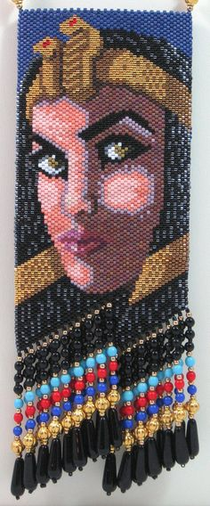 Cleopatral Beaded Amulet Bag Necklace or Wall Art by LazyRose