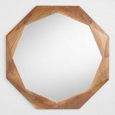 Wood Octagon Mirror