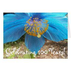 100th Birthday Blue Poppy Floral Card