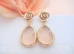 Romantic soft peach drop earrings with rose posts