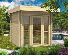 Saunahaus Lupoa-44 Garden Architecture, Gazebo, My House, Shed, Sweet Home, Outdoor Structures, Patio, Outdoor Sauna, Gardening