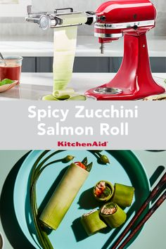 Hot spice meets cool seafood with this recipe for spicy zucchini salmon rolls. Use the vegetable sheet cutter attachment to roll out the zucchini. Check out Yummly for the full recipe. Breakfast Dessert, Dessert For Dinner, Stand Mixer Recipes, Zucchini Rolls, Salmon Roll, Pickled Ginger, Sushi Rolls, Rolls Recipe, Fresh Lemon Juice