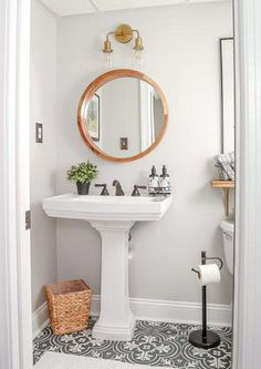 Bathroom Decor New Article Reveals The Low Down On Powder Room Ideas Small Half Baths Pedes. New Article Reveals The Low Down On Powder Room Ideas Small Half Baths Pedestal Sink 29 Vintage Modern, Modern Vintage Bathroom, Vintage Tile, Vintage Black, Modern Rustic, Vintage Kitchen, Bad Inspiration, Bathroom Inspiration, Small Half Baths