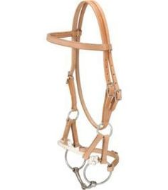 Side Pull With Bit- leather halter with smooth snaffle