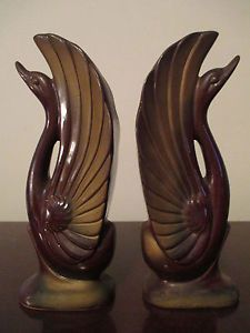 Pair of Vintage Ceramic Brown with Gold Trim Swans - Art Deco - Mid Century Mode - Google Search