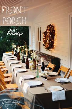 Porch Party & Dinner on the Porch at celebratingeverydaylife.com #porch #party