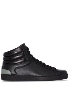 Black leather Ace high-top sneakers from GUCCI featuring flat rubber sole, padded ankle, almond toe, front lace-up fastening, logo print to the rear and contrasting heel counter. Gucci Sneakers, Gucci Shoes, High Top Sneakers, Black Leather Flats, Lace Up, Front Lace, World Of Fashion, High Tops, Women Wear