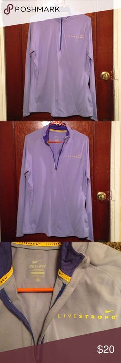 DRI-FIT Livestrong 1/4 zip Jacket 1/4 zip DRI-FIT Livestrong Jacket, long sleeve, worn a handful of times, lavender with yellow Nike Tops Tees - Short Sleeve