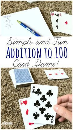 Addition to 100 Card Game - this is such a fun, simple to play math game for first grade and grade to make practicing math facts fun This fun Addition to 100 Card Game helps kids practice adding and counting to 100 with a deck of cards. Easy Math Games, Math Card Games, Card Games For Kids, Math For Kids, Math Activities, Dice Games, Learning Games, Therapy Activities, Mental Maths Games