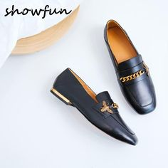 Women s genuine leather chain bee slip-on flats shoes e11438980f85