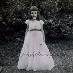 Creepy Halloween Decor, Altered Vintage Photo, The Witch by Frighten