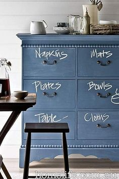 Love this DIY kids furniture idea for painting a child's dresser or armoire in chalkboard paint and then labelling what's inside with chalk. For a permanent 'chalk' look use paint instead to label the drawers. Discover more kids room decorating and organizing tips and ideas @ http://kidsroomdecorating.net