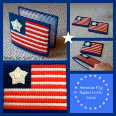 Plastic Canvas: American Flag Napkin Holder Cover -- Celebrate summer holidays with bright colors and fun table accents!