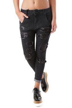 Jeans Donna Sexy Woman (VI-J2903) colore Nero