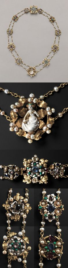Twelve Medallions Mounted as a Necklace, c. 1400. France, Paris , late 14th-early 15th century, enameled gold, precious stones, and pearls; some later additions with modern chain, Diameter - h:4.50 d:1.60 cm (h:1 3/4 d:5/8 inches) Part 1 - l:70.94 cm (l:27 7/8 inches).