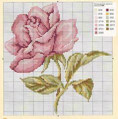 <3 Cross-stitch Beautiful Pink Rose