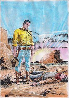 Ilustração original de Claudio Villa para o mini-póster de Tex Nuova Ristampa 403