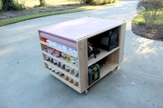 Portable sanding/staining workbench. Add downdraft section