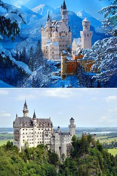 These are not scenes from Harry Potter or a Disney movie, just a real-life castle. Neuschwanstein Castle is a 19th-century Romanesque Revival palace (i.e., a style of building employed beginning in the mid-19th century inspired by the 11th and 12th century Romanesque architecture) on a rugged hill above the village of Hohenschwangau near Füssen in southwest Bavaria, Germany.