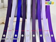 09. Plum 10. Thistle 11. Viola 12. Grappa 13. Lilac 14. Amethyst 15. Regal Purple 16. Lt. Orchid 17. Purple